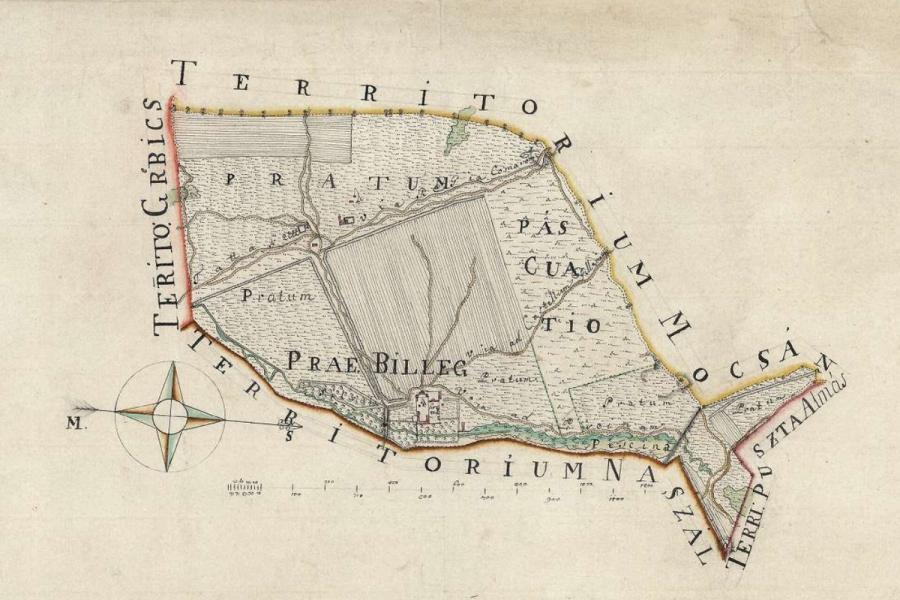 Billegpuszta térképe, 18. század - Balogh–Esterházy-kastély